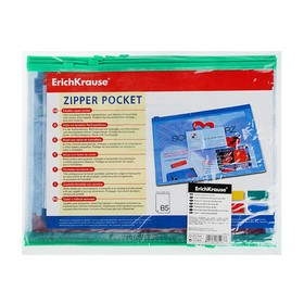 Папка-конверт на гибкой молнии Zip B5 (289х214 мм) Erich Krause PVC Zip Pocket, тиснение - зеркало, микс