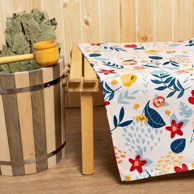 Простыня для бани «Цветочное поле» 150х180±5 см, 100% хлопок, вафельное полотно, 160 гр/м2 Ош