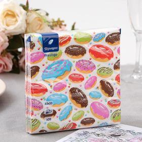 """Салфетки бумажные """"Перышко"""" Сладкие пончики Prestige 33х33 3сл 20л"""