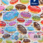 """Салфетки бумажные """"Перышко"""" Сладкие пончики Prestige 33х33 3сл 20л - Фото 2"""