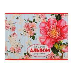 Альбом для рисования А4, 12 листов на скрепке, обложка мелованный картон, блок 100 г/м2, МИКС Ош
