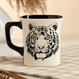 """Кружка """"Квадрат"""", деколь тигр, черно-белая, 0.4 л, микс"""