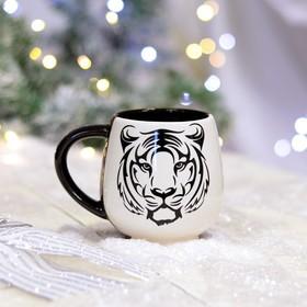 """Кружка """"Чайная"""", деколь, тигр, черно-белая, 0.4 л"""