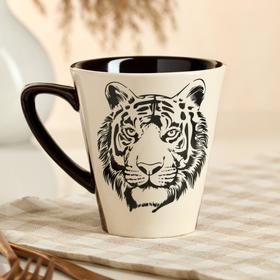 """Кружка """"Осень"""", деколь тигр, черно-белая, 0.3 л, микс"""