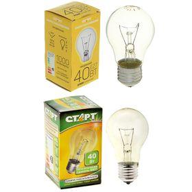 """Лампа накаливания """"Старт"""", Б, Е27, 40 Вт, 230 В"""