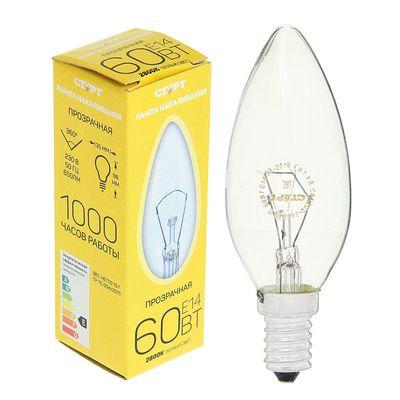 """Лампа накаливания """"Старт"""", ДС, Е14, 60 Вт, 230 В - Фото 1"""