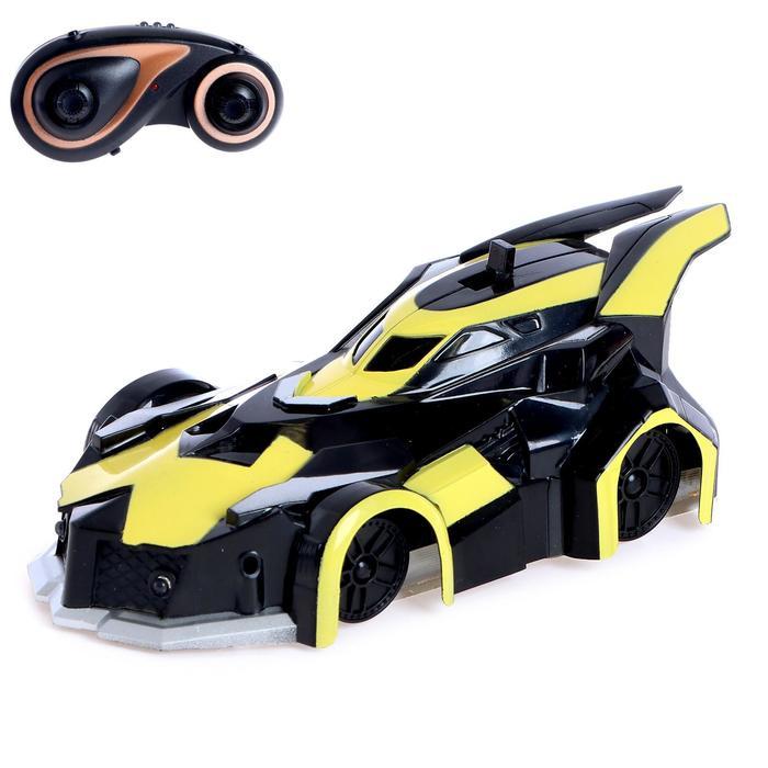 Антигравитационная машинка «СпортКар», радиоуправление, аккумулятор, ездит по стенам, свет, цвет жёлтый