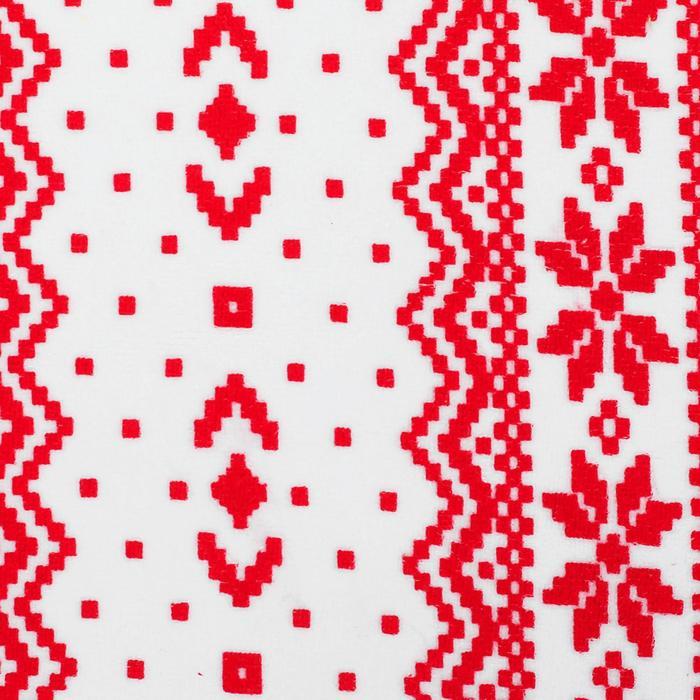 Велюр на белом фоне красный скандинавский узор, ширина 180 см