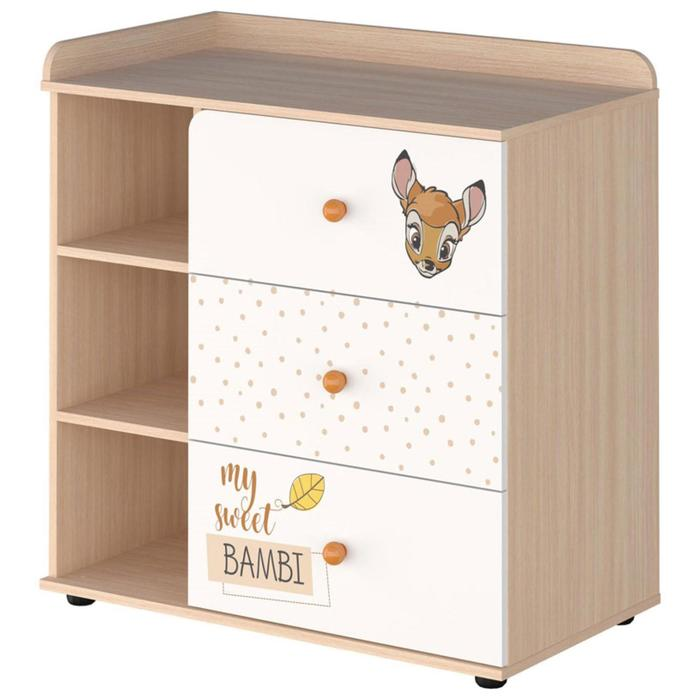 Комод «Бэмби», 3 ящика, цвет белый/дуб
