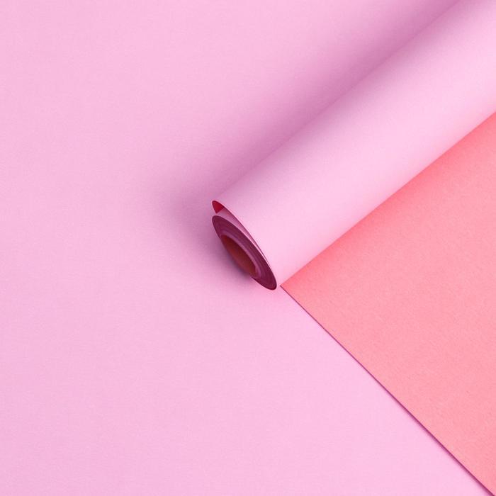 Бумага белый крафт ,двухстороняя, розовый-пастельный , 0,55 х 10 м