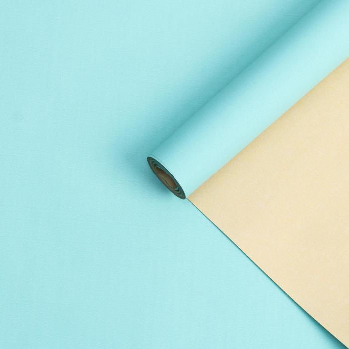 Бумага белый крафт ,двухстороняя, кремовый-бирюзовый , 0,55 х 10 м