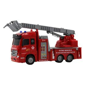 Пожарная машина с выдвижной лестницей, инерционный механизм, свет, звук