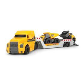 Грузовик прицеп с двумя автомобилями Volvo: горнорудной грузовик, погрузчик, 9 см, подвижные части,