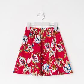 Юбка для девочки, цвет красный/цветы, рост 104 см