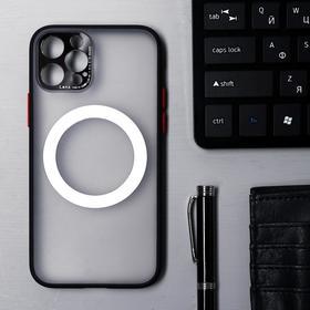 Чехол LuazON для iPhone 12 Pro, поддержка MagSafe, с окантовкой, пластиковый, черный