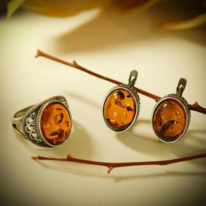"""Гарнитур 2 предмета: серьги, кольцо """"Янтарь"""" величие, 18 размер"""