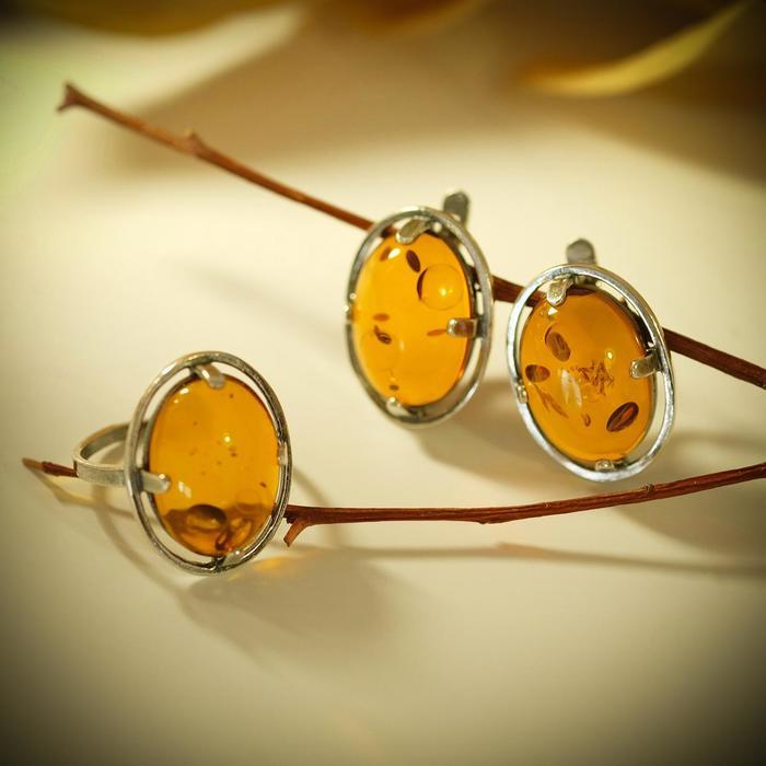 """Гарнитур 2 предмета: серьги, кольцо """"Янтарь"""" овал, 18 размер"""