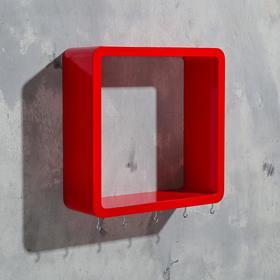 Ключница-полка 'Квадрат' 5 крючков, красная, 27х27см Ош