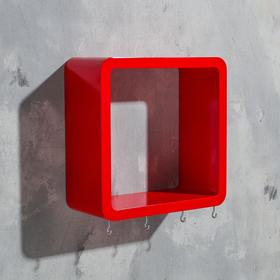 Ключница-полка 'Квадрат' 4 крючка, красная,средняя  22х22см Ош
