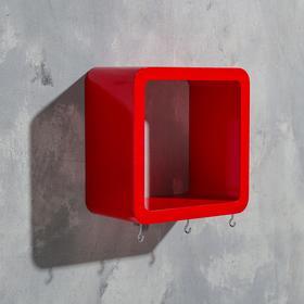 Ключница-полка 'Квадрат' 3 крючка, красная, малая  18х18см Ош