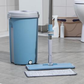 Набор для уборки Доляна: ведро с отсеками 10 л, 24×38 см, швабра плоская 32×12×85(130) см, насадка с карманами с двух сторон Ош