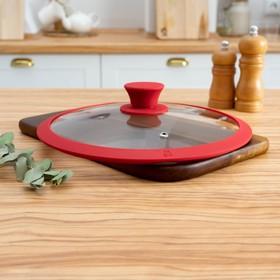 Крышка для сковороды и кастрюли Доляна стеклянная с силиконовым ободком и ручкой, d=24 см, цвет красный