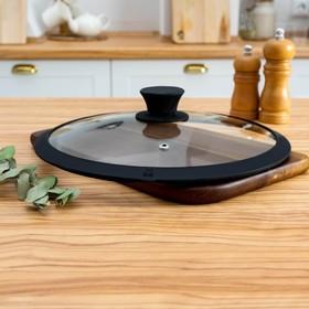 Крышка для сковороды и кастрюли Доляна стеклянная с силиконовым ободком и ручкой, d=24 см, цвет чёрный
