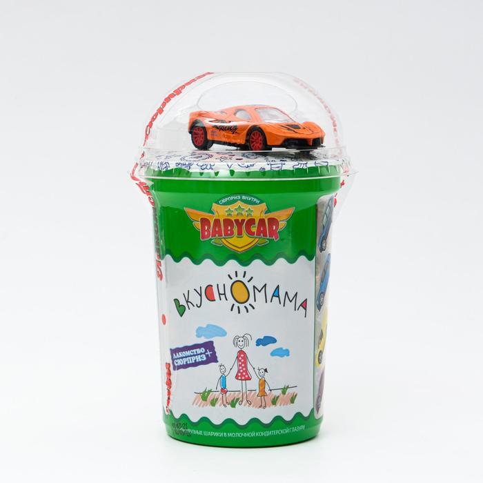 Кукурузные шарики в молочной кондитерской глазури с игрушкой «Babycar-Сюрприз», 30 г