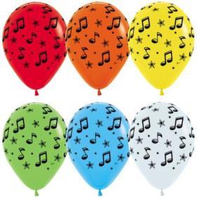"""Шар латексный 12"""" «Музыкальные ноты», пастель, 5-сторонний, набор 5 шт., МИКС"""