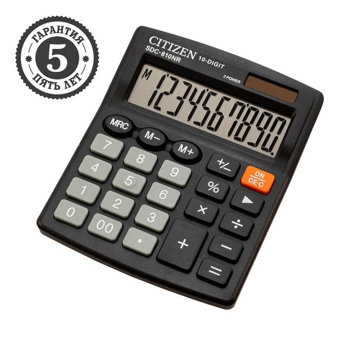 Калькулятор настольный 10-разр, 102*124*25мм, 2-е питание, черный SDC-810NR