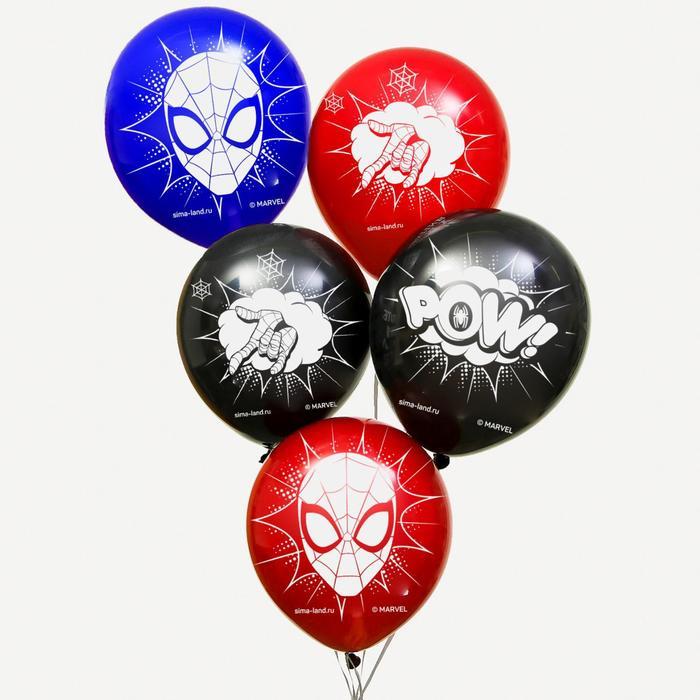 """Воздушные шары """"POW"""", Человек-паук (набор 5 шт) 12 дюйм"""