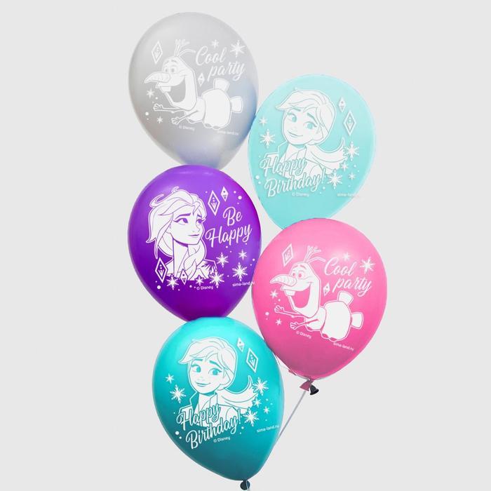 """Воздушные шары """"Cool party"""", Холодное сердце (набор 5 шт) 12 дюйм"""