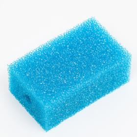 Губка прямоугольная для фильтра, синяя №4, 6,8х4,6х11 см