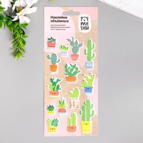 "Наклейки объемные MESHU ""Cute cactus"" 10х19 см"