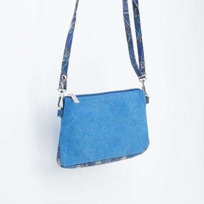 Кросс-боди, отдел на молнии, длинный ремень, цвет синий - Фото 1