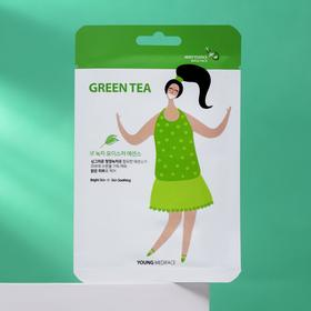 Тканевая маска-салфетка для лица Young Mediface, тонизирующая с зеленым чаем, 25 мл