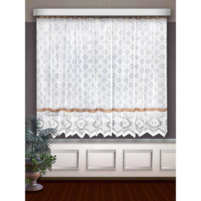 Гардина, размер 160 х 250 см, цвет белый/коричневый