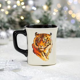 """Кружка """"Квадрат"""", деколь тигр, цветная, 0.4 л"""