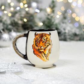 """Кружка """"Чайная"""", деколь тигр, черно-белая, 0.4 л"""