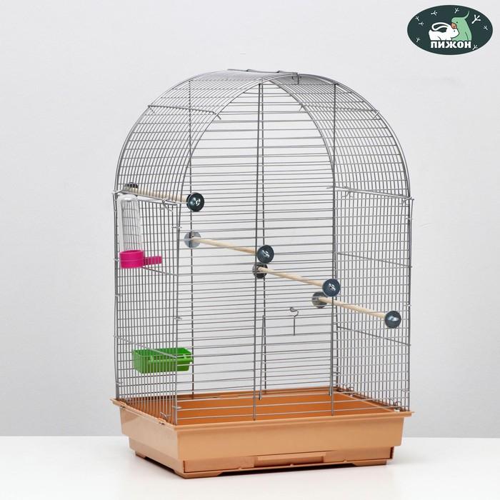 Клетка для птиц Пижон 101, хром , укомплектованная, 41 х 30 х 65 см, бежевая