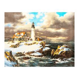 Роспись по холсту «Маяк зимой» по номерам с красками по 3 мл+ кисти+инстр+крепеж, 30 × 40 см