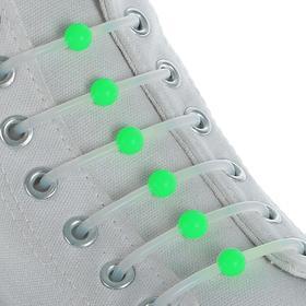 Набор шнурков для обуви «Шар», 6 шт, силиконовые, круглые, d = 15 мм, 6,5 см, цвет белый/зелёный