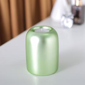 Подсвечник керамический, 11 см, зеленый матовый