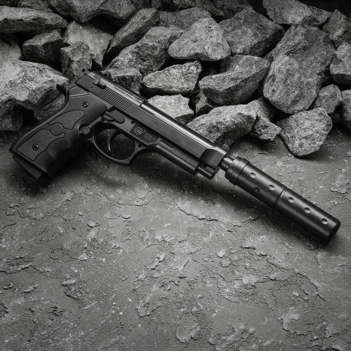 Пистолет пружинный Galaxy Beretta 92 G.052A с глушителем, 6 мм