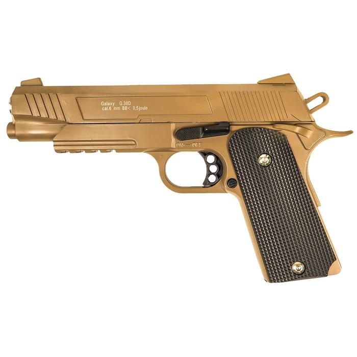 Пистолет пружинный Galaxy Colt 1911 G.38D, цвет песочный, 6 мм