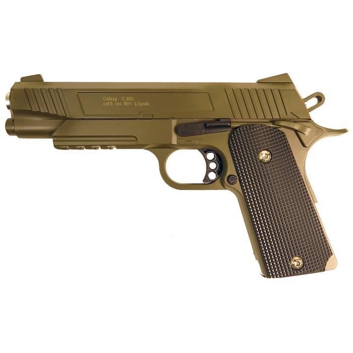 Пистолет пружинный Galaxy Colt 1911 G.38G, цвет зеленый, 6 мм