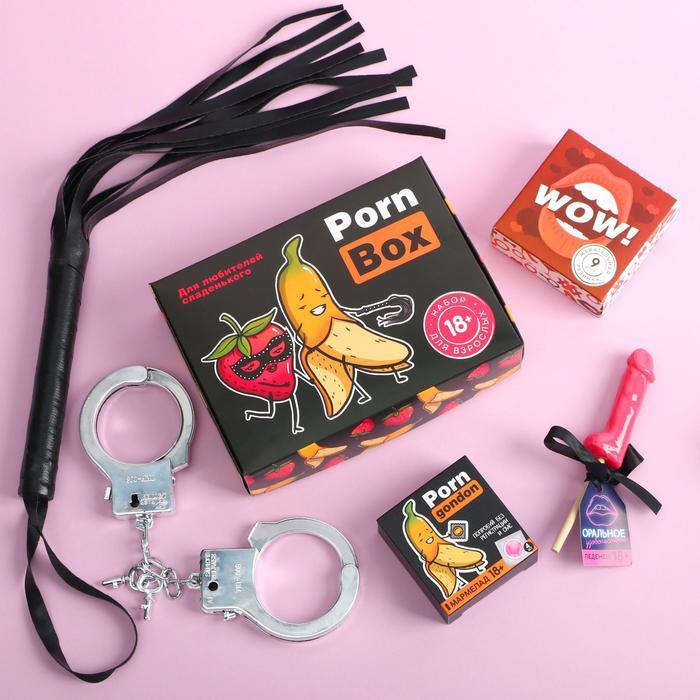 Подарочный набор Porn: леденец 30 г., мармелад 4 шт., жевательная резинка 9 шт., наручники, плеть