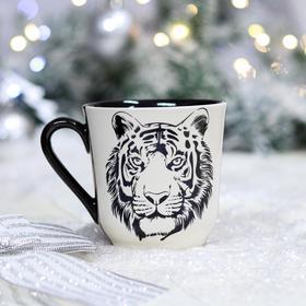 """Кружка """"Сумская"""", деколь, тигр, черно-белая, 0.35 л"""