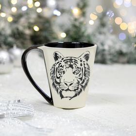 """Кружка """"Парусная"""", деколь, тигр, черно-белая, 0.3 л"""
