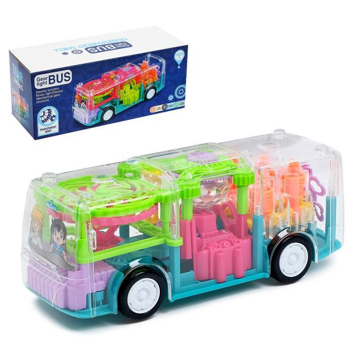 Автобус «Шестерёнки», световые и звуковые эффекты, работает от батареек, МИКС